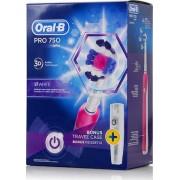 Braun Oral-B Pro 750 3D White Pink Colour & Bonus Travel Case