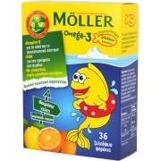 Moller's Omega 3 Kids Ζελεδάκια γεύση πορτοκάλι-λεμονι 36τμχ