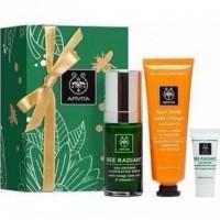 Apivita Bee Radiant Serum Gift Set με ΔΩΡΟ Μάσκα λάμψης με πορτοκάλι 50ml