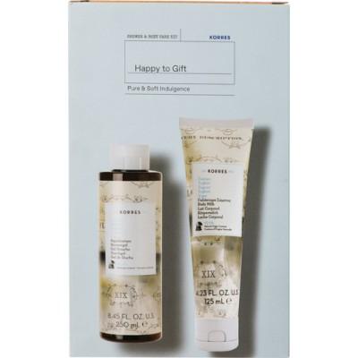 Korres Happy To Gift Pure & Soft Indulgence Shower Gel 250ml & Body Milk 125ml
